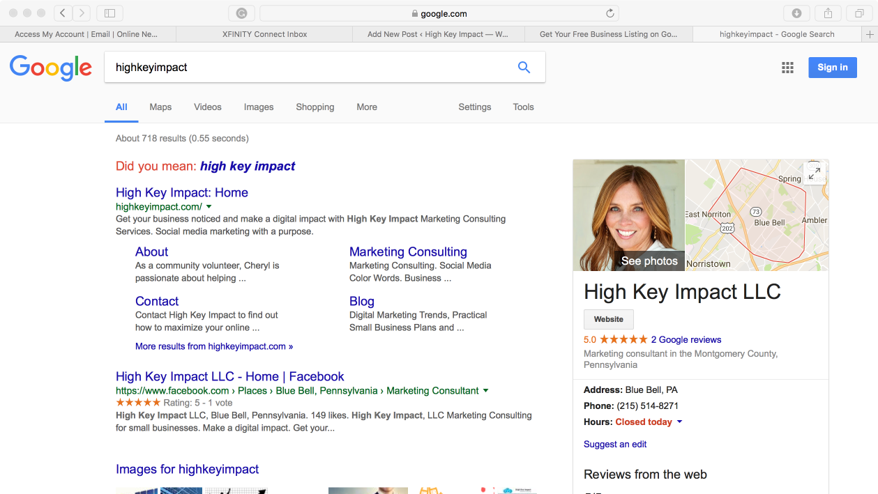 Google My Business Contact Number - Take a look at how a google my business listing for my business high key impact llc shows on a google search below it s the box with my profile photo